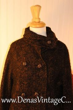 Vintage 50s Nubby Black and BrownTtweed Wool by DenasVintageCloset