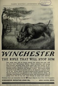 The Pacific Monthly, vol. Vintage Advertisements, Vintage Ads, Vintage Posters, Winchester Lever Action, Winchester Firearms, Tactical Shotgun, Drawing Games, Animal Games, Lightning Strikes