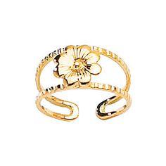14K Yellow Gold Flower Toe Ring Flower Toe Ring by GianniDeloro