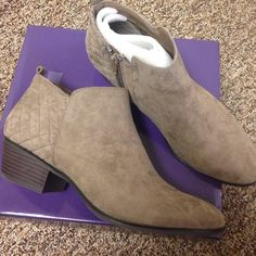Style & co mushroom colored ankle booties Super cute style & co mushroom colored ankle booties. Gently worn but in excellent condition! Style & Co Shoes Ankle Boots & Booties