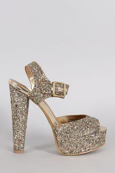 Bamboo Glitter Peep Toe Ankle Strap Platform Heel