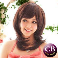 Medium Full Wigs - Wavy Coffee - One Size Cheap Jewelry, Asian Fashion, Wigs, Medium, Taiwan, Hair Styles, Angel, Beauty, Coffee