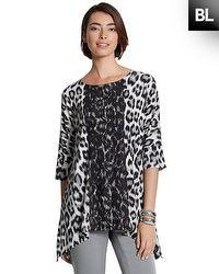 Black Label Animal Lace Print Knit Top