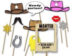 Image of Western Cowboy or Cowgirl party photo booth props- printable diy birthday party decorations