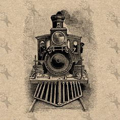 Vintage Retro drawing Train Locomotive Steam Instant Download Digital printable Black and White graphic scrapbooking burlap totes towels etc by UnoPrint on Etsy #hq #png #bw #Ephemera #diy #old #book #illustration #gravure #inspiration #retro #antique #vintage #300dpi #craft #draw #drawing  #black #white #printable #crafts #transfer #decor #hand #digital #collage #scrapbooking #quality