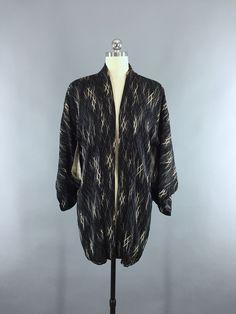 1950s Vintage Silk Kimono Jacket / Silk Haori Kimono Cardigan / Black Abstract