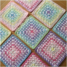 All the squares are finished and ready to join  #crochet #grannysquares #grannysquaresrock #stylecraft #igcrochet #crochetaddict #instacrochet by pinklimecrafts