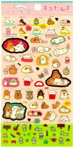 San-x Mofutans Mochi Bunny Sticker Sheet: Friends