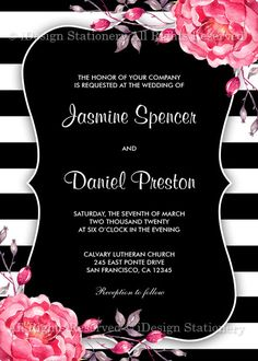 A printable black and white stripe wedding invitation, featuring beautiful coral watercolor peonies. Perfect for striped, botanical and flower themed weddings. Black Wedding Invitations, Wedding Menu Cards, Invites, Big Wedding Rings, Coral Watercolor, Striped Wedding, Diy Wedding Decorations, Wedding Ideas, Diy Cards