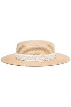 Discount Classic Honey Feather-embellished Woven Paper Hat - Ivory Eugenia Kim Cheap Sale Fashion Style Brand New Unisex HtM57pQne