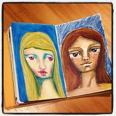 A couple of limited supplies art journal faces. Left is Neocolor II only. Right is acrylic paints and Neocolor II. #artjournal #mixedmedia #artonholiday #dylusions #portrait #irisimpressionsart