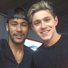 Niall with Neymar (football player) in Barcelona after the match tonight!