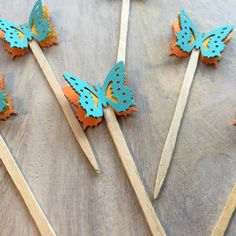 Bright Blue Butterfly Cake Picks by PicktheCake on Etsy