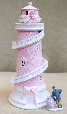 FOR SALE eBay | OOAK Pink Shabby Chic Rose HP Hand-painted building ceramic house Christmas Village Lemax Lighthouse 2005 Cap'N Bob Figurine