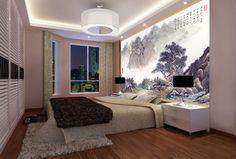 papier peint sur mesure tapisserie numérique style chinois paysage montagne avec poème
