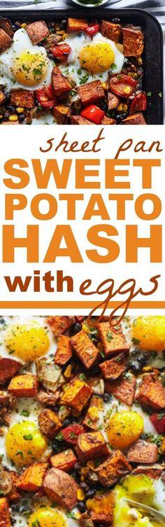 Sweet Potato Hash - Sheet Pan Sweet Potato Hash with Eggs #sweetpotatohash #sweetpotatorecipes #sweetpotatohashrecipes #cleaneatingrecipes #healthyrecipes #cleaneatingsweetpotatorecipes #healthysweetpotatorecipes #protein
