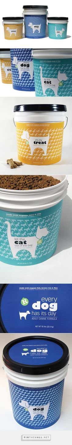 Rebel pet food packaging on Behance by Heather Raines jacksonville, FL curated by Packaging Diva PD. An eco-friendly approach to pet food packaging. The idea is to buy the bucket once, then bring back to stores to refill.