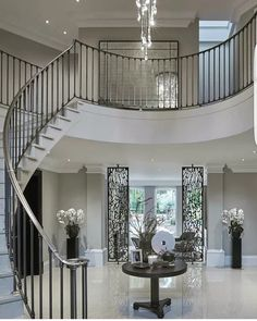 Grand entrance hall, foyer, entryway, staircase with centre table and marble floors Grand Entryway, Grand Entrance, House Entrance, Entrance Halls, Entrance Design, Decoration Bedroom, Home Decor Bedroom, Hallway Decorating, Bedroom Wall