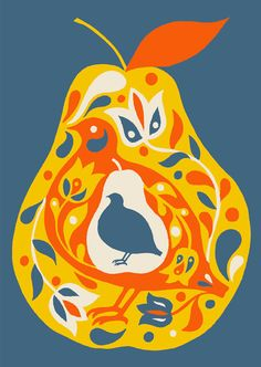 alice stevenson ~ a partridge and a pear .. print or card . https://www.etsy.com/listing/87030251/a-partridge-and-a-pear-archival-print