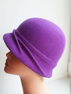 """Купить Шляпка валяная """"Цвет весеннего крокуса..."""" - фиолетовый, однотонный, валяная шляпка"""