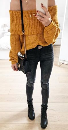 #winter #outfits yellow knitted off-shoulder long sleeve shirt and black jeans outfit
