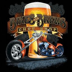 Motorcycle Adult Unisex T Shirt Bikes and Brews Chop Shop 17015