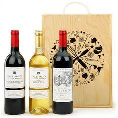 Pour les papas amateurs de bons vins :  3 Bordeaux (Loupiac, St Emilion, Côtes de Castillon), le tout dans un superbe coffret en bois !