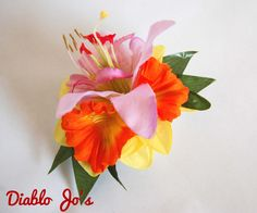Daffodil and Lily hair flower, Spring,  Pin Up, Rockabilly, Vintage style by DiabloJos on Etsy