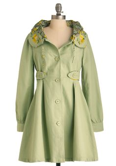 Flower Booth Coat - Long, Green, Buttons, Casual, Vintage Inspired, A-line, Long Sleeve, Yellow, Solid, Embroidery, Peter Pan Collar, Pockets, Spring, 2.5