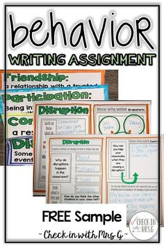 Behavior writing assignment workbook and word wall! Help students reflect on their behavior and gain perspective. An exceptional match for a social skills group! The behavior management topics in this workbook include: Disruptions, Participation, Respect, Quality Work, Testing, Work Completion, On Task Behavior, Group Work, Making Friends, Consequences #classroommanagement #teachsocialskills #specialeducationresources Social Skills Activities, Teaching Social Skills, Classroom Management Strategies, Teaching Writing, Behavior Management, Teaching Resources, Student Behavior, Classroom Behavior, Resource Room Teacher