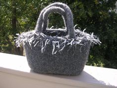 Gray Felted Wool Tote With Snap 2 Handles and by felting4you