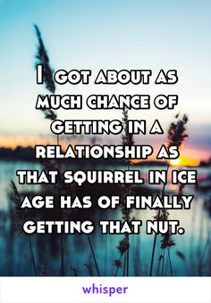 I  got about as much chance of getting in a relationship as that squirrel in ice age has of finally getting that nut.