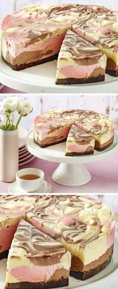 This No Bake Neapolitan Cheescake New Idea Recipe has gone viral and is it any wonder. One look and you be hooked! This is a showstopping dessert! No Bake Desserts, Easy Desserts, Delicious Desserts, Dessert Recipes, Frozen Desserts, Dessert Ideas, Yummy Food, Cupcakes, Cupcake Cakes