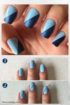 Easy step by step tutorial. Using ciate and NYC nail polish and… cool Easy blue nail art design. Easy step by step tutorial. Using ciate and NYC nail polish and striper tape. Simple nail art for beginners! Trendy Nail Art, Nail Art Diy, Cool Nail Art, Nail Art Blue, Blue Art, Striped Nail Art, Tape Nail Art, Nail Art Stripes, Nyc Nail Polish