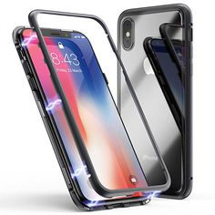 iPhone X Case, Magnetic Adsorption Case Ultra Slim Metal Frame Tempered Glass with Built-in Magnet Flip Cover [Support Wireless Charging] for Apple iPhone Iphone 7 Plus, Bump, Smartphone, Coque Iphone, Smartwatch, 6s Plus, Multimedia, Protective Cases, Apple Iphone