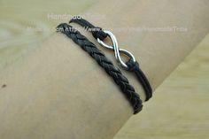 Vintage Style Silver Infinity Wish Bracelet Black by HandmadeTribe, $1.99 Fashion handmade leather bracelet