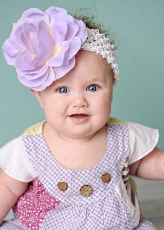 Blooming Little Baby Silk Lavender Rose Headband by Posh Little Tutus.com