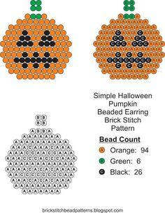 Brick Stitch Bead Patterns Journal: Simple Halloween Pumpkin #4 Brick Stitch Bead Patt...