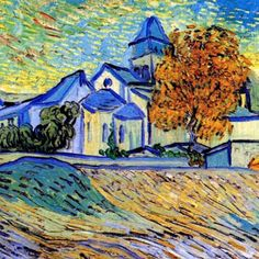 van gogh view from the asylum Vincent Van Gogh, Van Gogh Paintings, Great Paintings, Van Gogh Landscapes, Landscape Paintings, Van Gogh Art, Impressionist Artists, Post Impressionism, Colorful Drawings