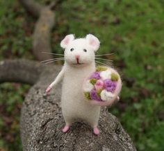 Cute mouse Needle felt mouse White mouse Needle felt by DemannaArt