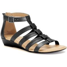 Croft & Barrow® Women's Wedge Gladiator Sandals ($30) ❤ liked on Polyvore featuring shoes, sandals, black, black gladiator sandals, open toe wedge sandals, strappy gladiator sandals, gladiator wedge sandals and low wedge sandals
