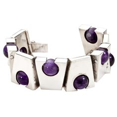 Bracelet | Antonio Pineda. 'Trapezoid'  Sterling silver and amethyst.  c. 1949-53, Mexico
