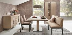 Cava Asteiche I Anrei Dinning Table Design, Dining Bench, Dream Home Design, House Design, Kitchen Dining, Dining Room, Furniture, Home Decor, Room Ideas