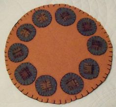 Penny Rug Felted Wool Primitive Round Autumn by laidbackladies,