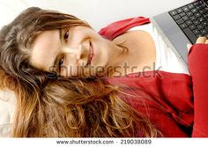 ALLURING GIRL IN RELAX WITH TABLET - stock photo