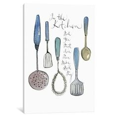 August Grove Kitchen Utensils Graphic Art on Wrapped Canvas Size: