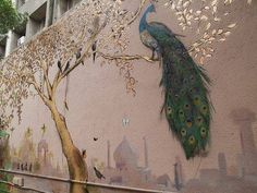 painted mural of peacock on outside wall....love...