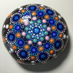Hand Painted Mandala Stone, Mandala Meditation Stone, Dot Art Stone, Healing Stone, #271 by MafaStones on Etsy