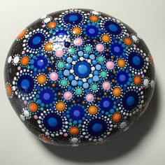 Hand Painted Mandala Stone, Mandala Meditation Stone, Dot Art Stone, Healing Stone, #271 by MafaStones on Etsy
