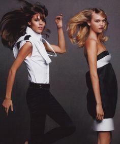 """""""Key Pieces in Black & White"""": Freja Beha Erichsen & Gemma Ward by Karl Lagerfeld for Harper's Bazaar US March 2007"""